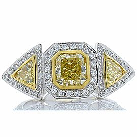 1.21 Carat Fancy Yellow Radiant Diamond Platinum Cocktail Ring