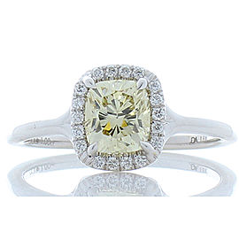 GIA Certified 1.00 Carat Fancy Light Yellow Cushion Diamond Cocktail Ring