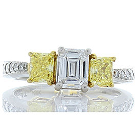 0.56 Ct VVS1 Emerald Cut Diamond, Intense Yellow Diamond Platinum Cocktail Ring