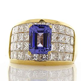 2.15 Carat Tanzanite and Princess Cut Diamond Cocktail Ring in 18 Karat Gold