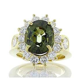 4.00 Carat Oval Green Tourmaline and Diamond Cocktail Ring