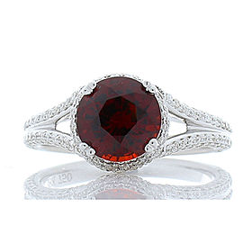 2.35 Carat Spessartite Garnet with Diamond Cocktail Ring