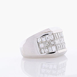 4.01 Carat Total Invisible Set Baguette and Princess cut Diamond Cocktail Ring