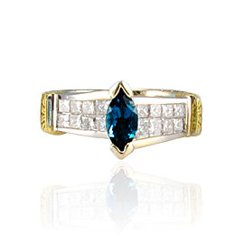 0.60 Carat London Blue Topaz and Invisible Set Princess Cut Diam Cocktail Ring