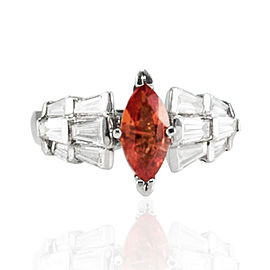 0.89 Carat Marquise Orange Sapphire and Baguette Diamond Cocktail Ring
