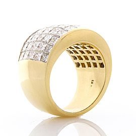 8.72 Carat Total Invisible Set Princess Cut Diamond Yellow Gold Cocktail Ring