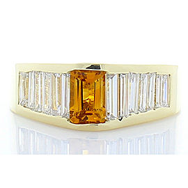0.75 Carat Emerald Cut Citrine Garnet and Baguette Diamond Cocktail Ring