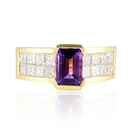 1.31 Carat Total Emerald Cut Amethyst and Princess Cut Diamond Cocktail Ring