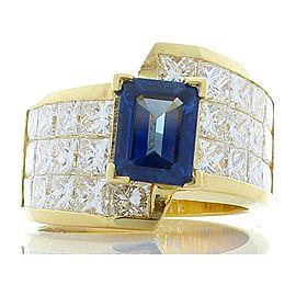 1.80 Carat Emerald Cut Blue Sapphire and Princess Cut Diamond Cocktail Ring