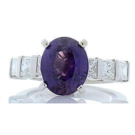 GIC Certified 3.02 Carat Purple Sapphire and Princess Cut Diamond Cocktail Ring