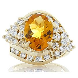 3.00 Carat Oval Citrine and Diamond White Gold Cocktail Ring