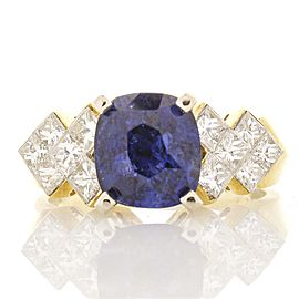 2.69 Carat Blue Sapphire and Diamond Cocktail Ring in 18 Karat Yellow Gold