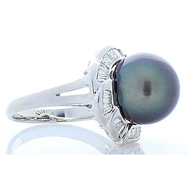 Tahitian Black Pearl and Baguette Diamond 18 Karat White Gold Cocktail Ring