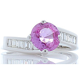 1.69 Carat Pink Sapphire and Baguette Diamond White Gold Cocktail Ring