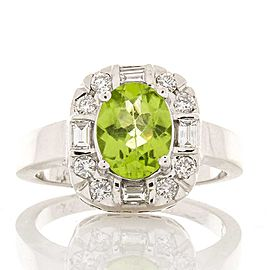 1.37 Carat Oval Peridot and Diamond Cocktail Ring in 14 Karat White Gold