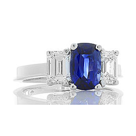 1.52 Carat Cushion Ceylon Sapphire and Emerald Cut Diamonds Cocktail Ring