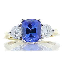 2.06 Carat Cushion Tanzanite and Diamond Yellow Gold Cocktail Ring