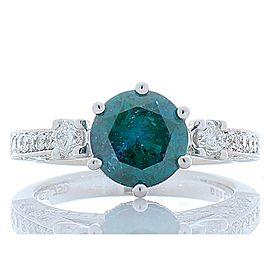 1.79 carat irradiated blue diamond ring