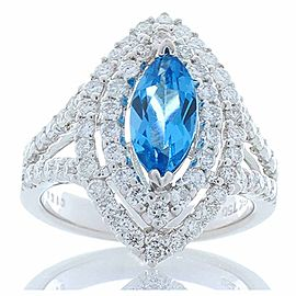 2.00 Carat Marquise Swiss Blue Topaz and Diamonds Cocktail Ring 18 Karat Gold
