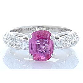 1.57 Carat Cushion Cut Pink Sapphire and Diamond Cocktail Ring in 18 Karat Gold
