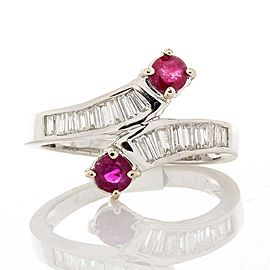 0.60 Carat Total Ruby and Diamond Cocktail Ring in 14 Karat White Gold