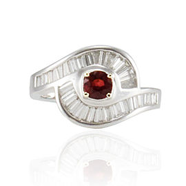 0.50 Carat Ruby and 0.95 Carat Total Baguette Diamond White Gold Cocktail Ring