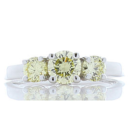 1.02 Carat Total Yellow Diamond Three-Stone Cocktail Ring in White Gold