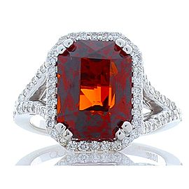 8.05 Carat Emerald Cut Spessartite Garnet and Diamond White Gold Cocktail Ring