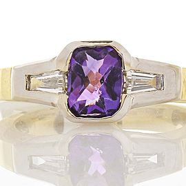 Ring 18kTT, Amethyst 1.50CT AME RAD, 0.19CTW TAPER BAG