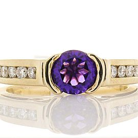 1.00 Carat Amethyst and Diamond Cocktail Ring