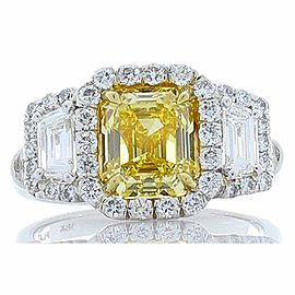 GIA Certified Emerald Cut Fancy Vivid Yellow Diamond Cocktail Ring in Platinum