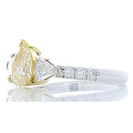 0.81 Carat Pear Shape Fancy Light Yellow Diamond Cocktail Ring in 18 Karat Gold