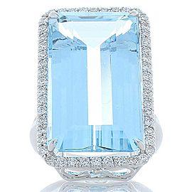 22.59 Carat Emerald Cut Aquamarine and Diamond Cocktail Ring in 18 Karat Gold
