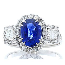2.50 Carat Oval Sapphire and Princess Cut Diamond Cocktail Ring in White Gold