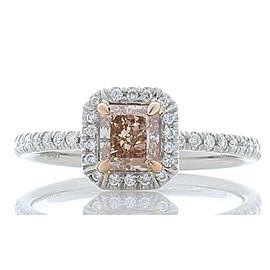 GIA Certified 0.74 Carat Fancy Pinkish Brown Radiant Cut Diamond Cocktail Ring