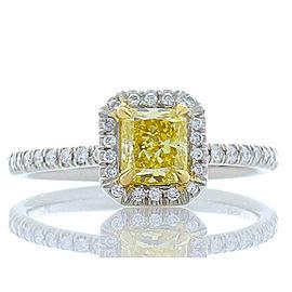 GIA Certified 0.72 Carat Radiant Cut Fancy Intense Yellow Diamond Cocktail Ring