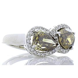 4.25 Carat Total Pear Shape Cognac Brown Diamond Ring in 18 Karat White Gold