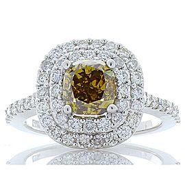 GIA Certified 1.50 Carat Cushion Cut Fancy Yellowish Brown Diamond Cocktail Ring