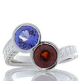 2.27 Carat Total Tanzanite and Spessartite Cocktail Ring in 14 Karat White Gold