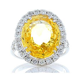 9.85 Carat Oval Yellow Sapphire and Diamond Cocktail Ring in White Gold