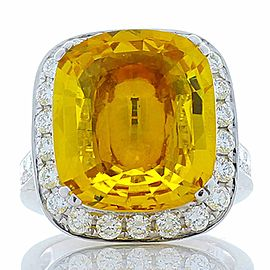 9.60 Carat Cushion Yellow Sapphire and White Diamond Cocktail Ring
