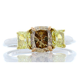 GIA Certified 1.05 Carat Cushion Cut Fancy Brown Diamond and Yellow Diamond Ring