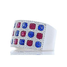 1.50 Carat Total Ruby, Blue Sapphire and Diamond Cocktail Ring in 18 Karat Gold