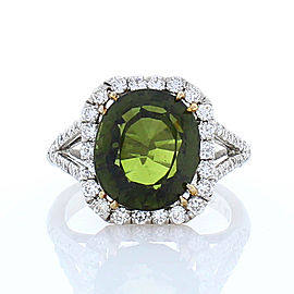 5.23 Carat Green Tourmaline and Diamond Cocktail Ring in Platinum