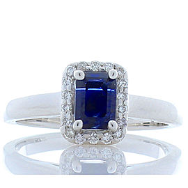 GIT Certified 1.70 Carat Emerald Cut Blue Sapphire And Diamond Cocktail Ring