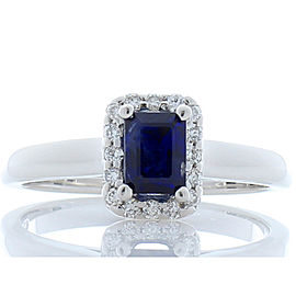 GIT Certified 0.98 Carat Emerald cut Blue Sapphire And Diamond Cocktail Ring