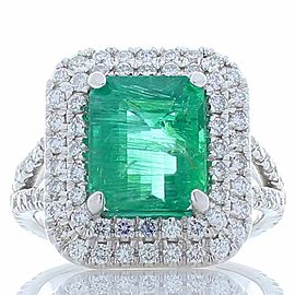 GII Certified 3.99 Carat Total Emerald Cut Emerald and Diamond Cocktail Ring