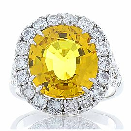 6.04 Carat Oval Yellow Sapphire and Diamond Cocktail Ring in 18 Karat White Gold