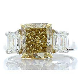 3.00 Carat Radiant Cut Fancy Yellow Diamond Cocktail Ring in Platinum