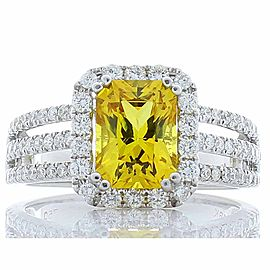 2.12 Carat Radiant Cut Yellow Sapphire and Diamond Cocktail Ring in White Gold